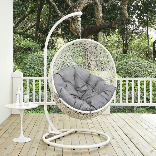 Hide Outdoor Patio Swing Chair in White Gray