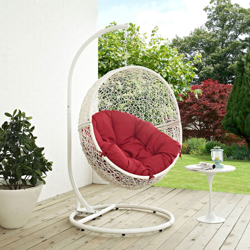 Hide Outdoor Patio Swing Chair in White Red