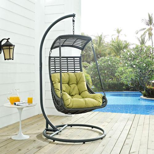 Jungle Outdoor Patio Swing Chair in Peridot
