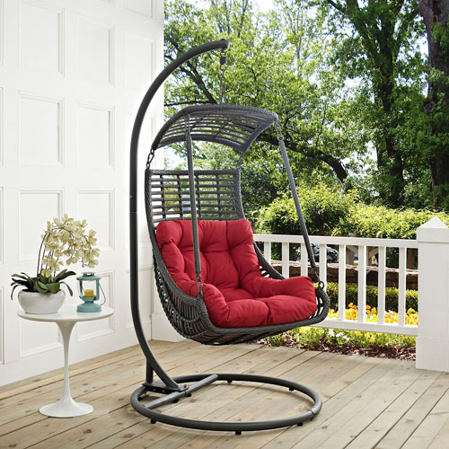 Jungle Outdoor Patio Swing Chair in Red & Modern Patio And Porch Swings Free Shipping | Bellacor