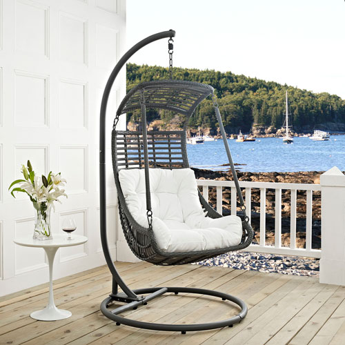 Jungle Outdoor Patio Swing Chair In White