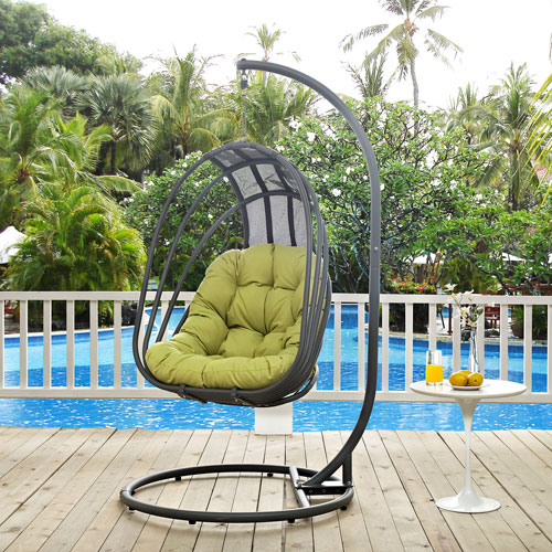 Modway Furniture Whisk Outdoor Patio Swing Chair in Peridot