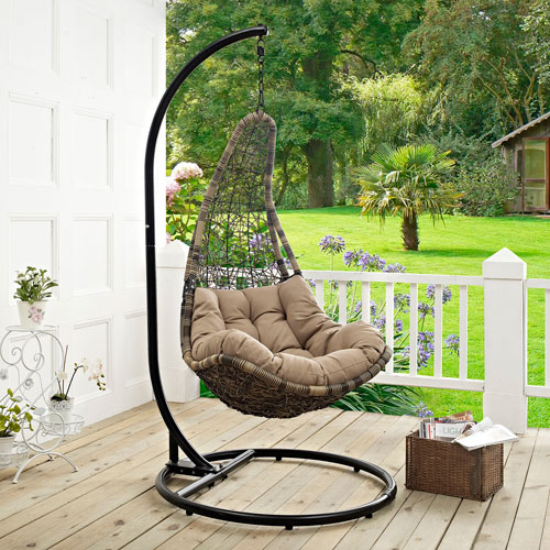 modway furniture abate outdoor patio swing chair in black mocha - Patio Swing Chair