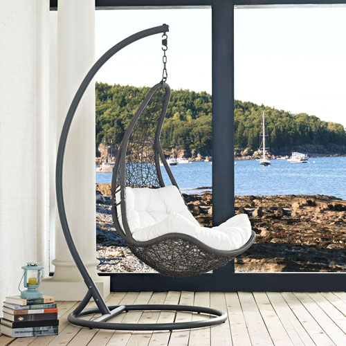 Abate Outdoor Patio Swing Chair in Gray White