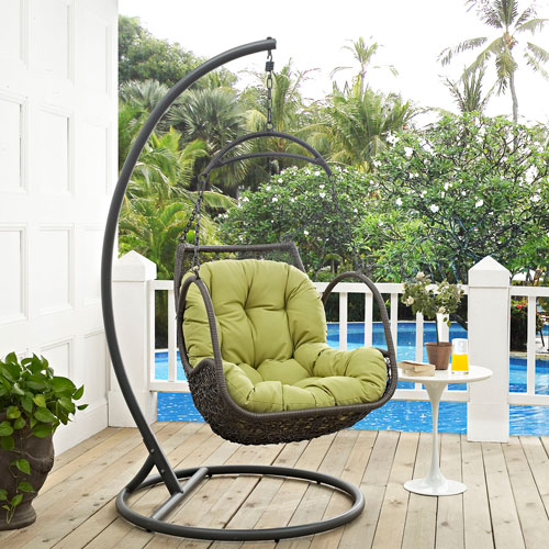 Arbor Outdoor Patio Wood Swing Chair in Peridot