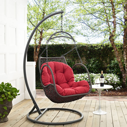 Modway Furniture Arbor Outdoor Patio Wood Swing Chair In Red Eei
