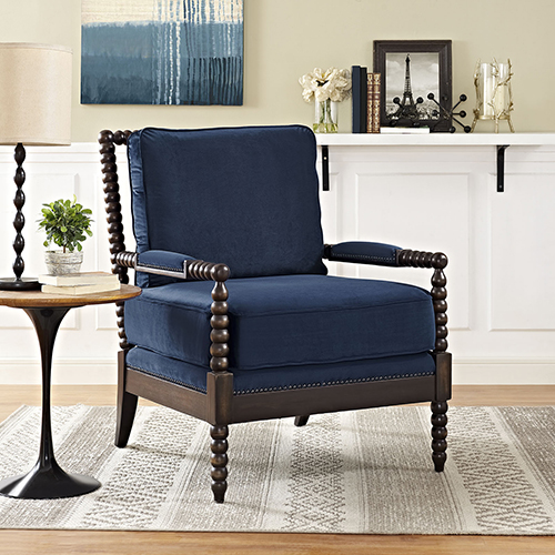 Modway Furniture Revel Upholstered Fabric Armchair In Navy