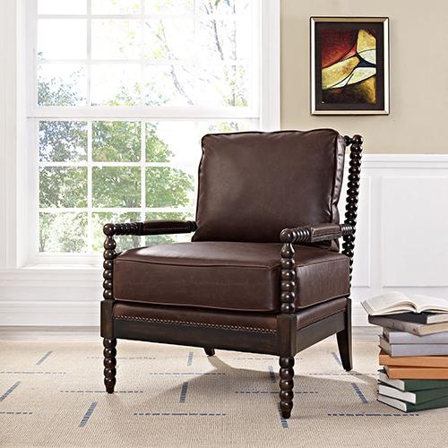 Revel Upholstered Vinyl Armchair in Brown