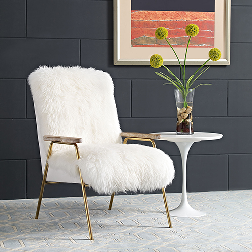 Sprint Wool Armchair in Brown White