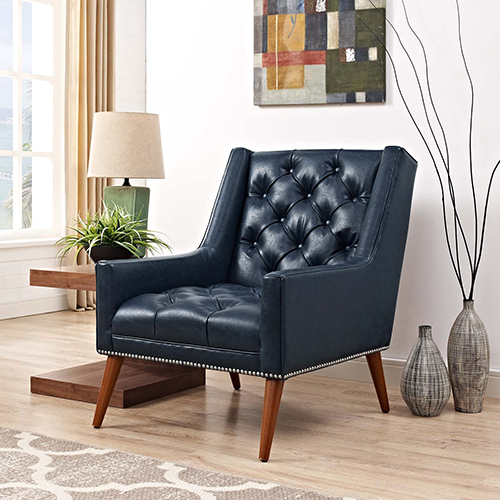 Modway Furniture Peruse Faux Leather Armchair in Blue