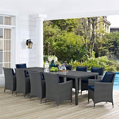Modway Furniture Sojourn 11 Piece Outdoor Patio Sunbrella® Dining Set In  Canvas Navy