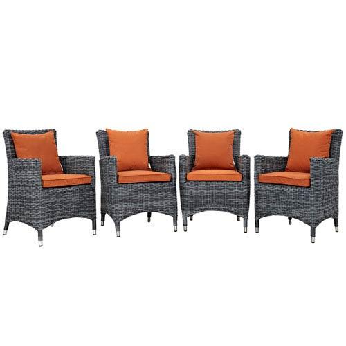 Modway Furniture Summon 4 Piece Outdoor Patio Sunbrella® Dining Set in Canvas Tuscan