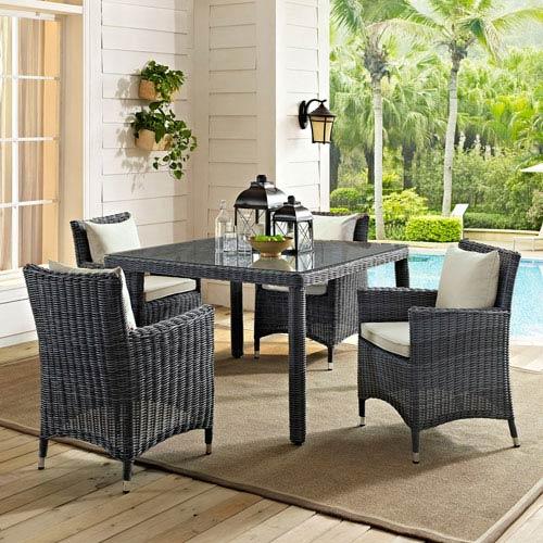 Modway Furniture Summon 5 Piece Outdoor Patio Sunbrella® Dining Set In  Antique Canvas Beige