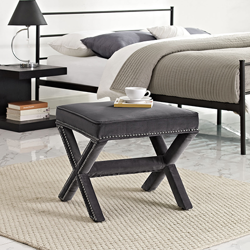 Modway Furniture Rivet Bench in Gray