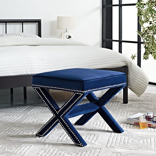 Modway Furniture Rivet Bench in Navy