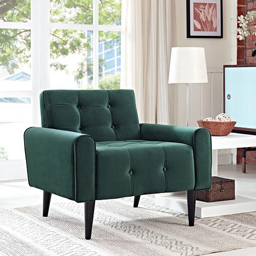 Delve Velvet Armchair in Emerald Green
