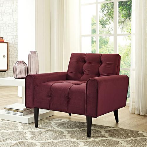 Modway Furniture Delve Velvet Armchair in Maroon