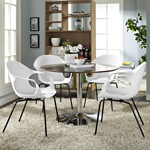 Modway Furniture Swerve Dining Set Set of 4 in White