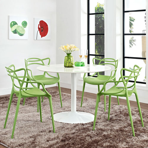 Modway Furniture Entangled Dining Set  of 4 in Green