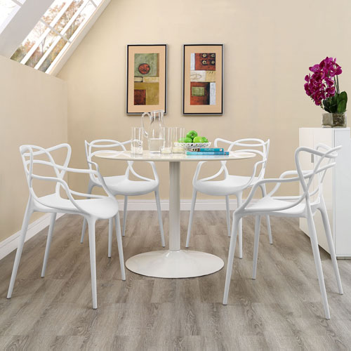 Modway Furniture Entangled Dining Set  of 4 in White