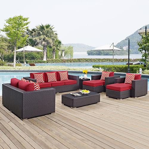 Modway Furniture Convene 9 Piece Outdoor Patio Sofa Set in Espresso Red
