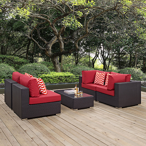 Modway Furniture Convene 5 Piece Outdoor Patio Sectional Set in Espresso Red