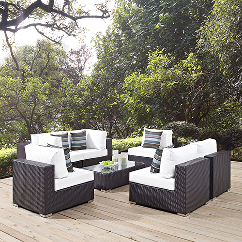 Modway Furniture Convene 7 Piece Outdoor Patio Sectional Set in Espresso White