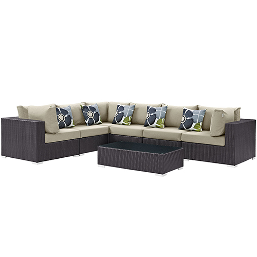 Modway Furniture Convene 7 Piece Outdoor Patio Sectional Set in Espresso Beige