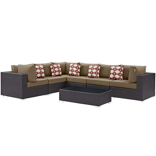 Modway Furniture Convene 7 Piece Outdoor Patio Sectional Set in Espresso Mocha