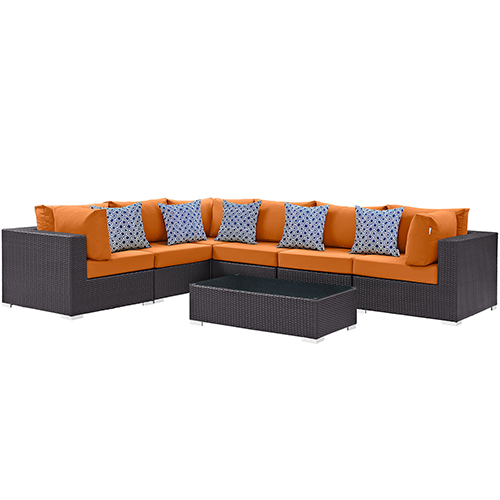 Modway Furniture Convene 7 Piece Outdoor Patio Sectional Set in Expresso Orange