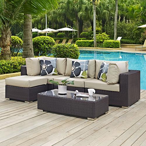 Modway Furniture Convene 5 Piece Outdoor Patio Sectional Set in Espresso Beige