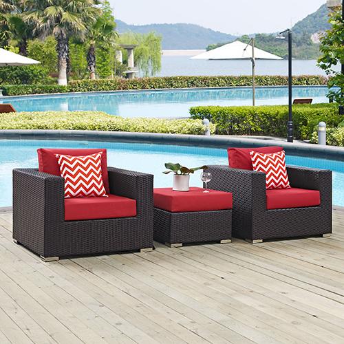 Modway Furniture Convene 3 Piece Outdoor Patio Sofa Set in Espresso Red