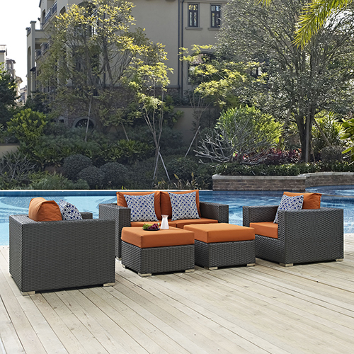 Modway Furniture Sojourn 5 Piece Outdoor Patio Sunbrella Sectional Set in Canvas Tuscan