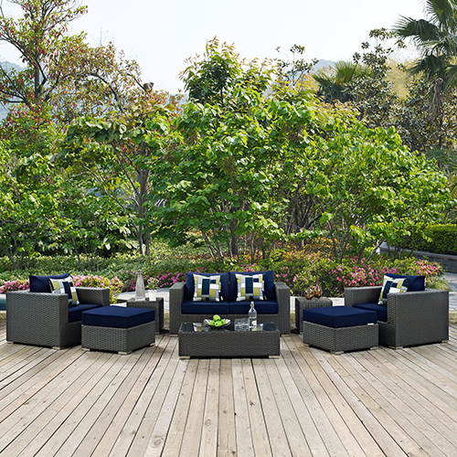 Sojourn 8 Piece Outdoor Patio Sunbrella Sectional Set in Canvas Navy