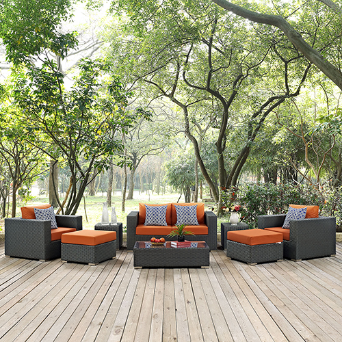 Modway Furniture Sojourn 8 Piece Outdoor Patio Sunbrella Sectional Set in Canvas Tuscan