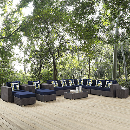 Modway Furniture Sojourn 11 Piece Outdoor Patio Sunbrella Sectional Set in Canvas Navy