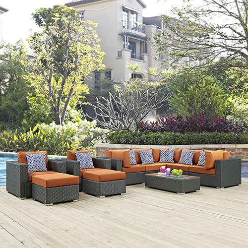 Modway Furniture Sojourn 10 Piece Outdoor Patio Sunbrella Sectional Set in Canvas Tuscan