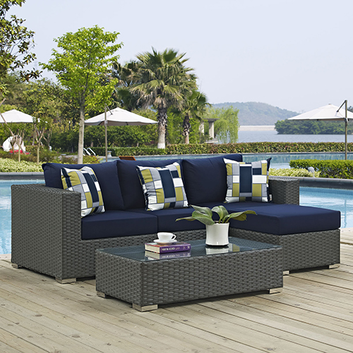 Sojourn 3 Piece Outdoor Patio Sunbrella Sectional Set in Canvas Navy