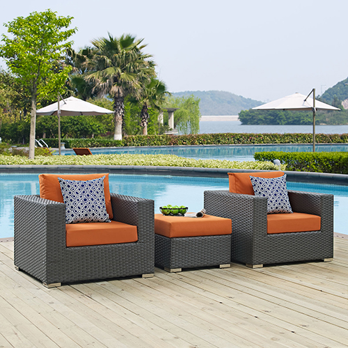 Modway Furniture Sojourn 3 Piece Outdoor Patio Sunbrella Sectional Set in Canvas Tuscan