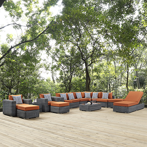 Modway Furniture Summon 12 Piece Outdoor Patio Sunbrella Sectional