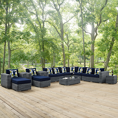 Modway Furniture Summon 11 Piece Outdoor Patio Sunbrella Sectional Set in Canvas Navy