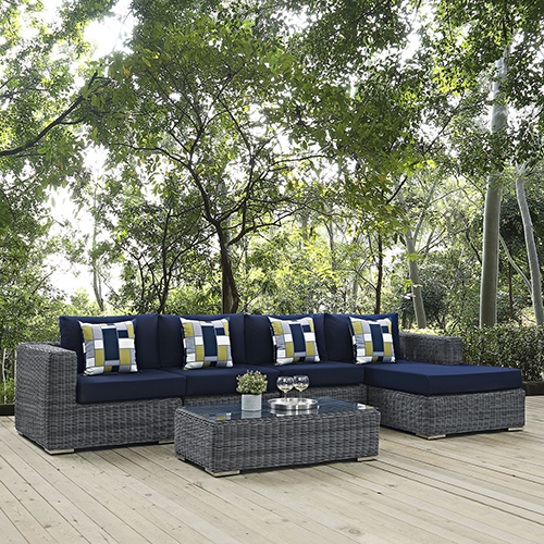 Modway Furniture Summon 5 Piece Outdoor Patio Sunbrella Sectional