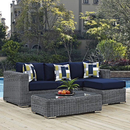 Modway Furniture Summon 3 Piece Outdoor Patio Sunbrella Sectional Set in Canvas Navy