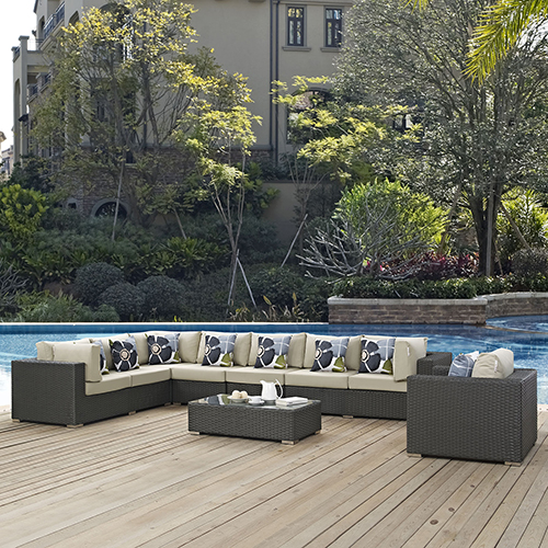 Modway Furniture Sojourn 7 Piece Outdoor Patio Sunbrella Sectional Set in Chocolate Beige