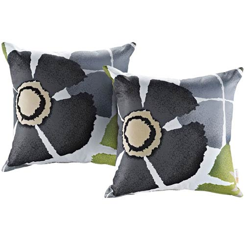 Charmant Two Piece Outdoor Patio Pillow Set In Botanical