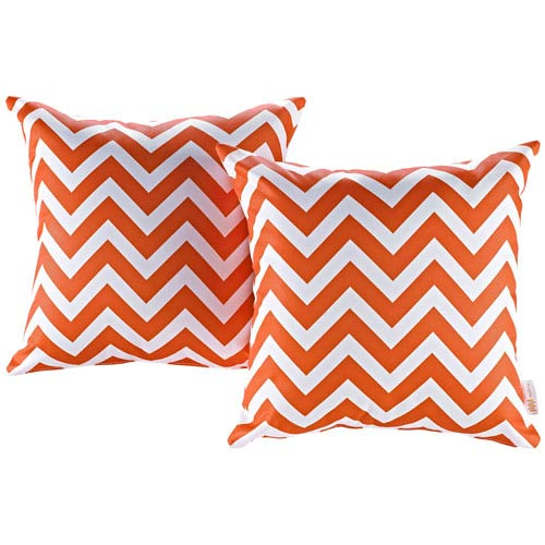 Two Piece Outdoor Patio Pillow Set in Chevron