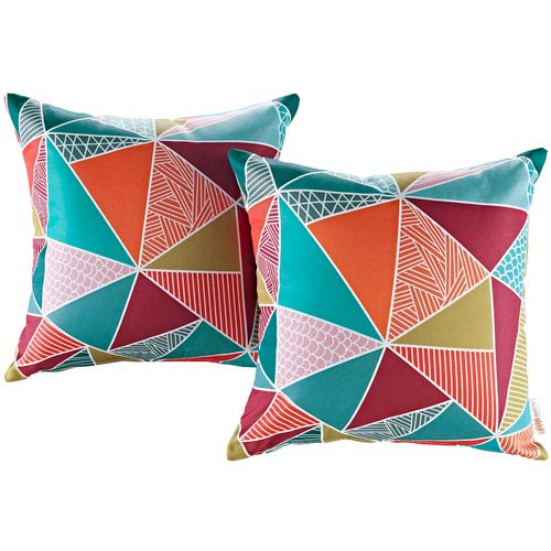 Two Piece Outdoor Patio Pillow Set in Mosaic