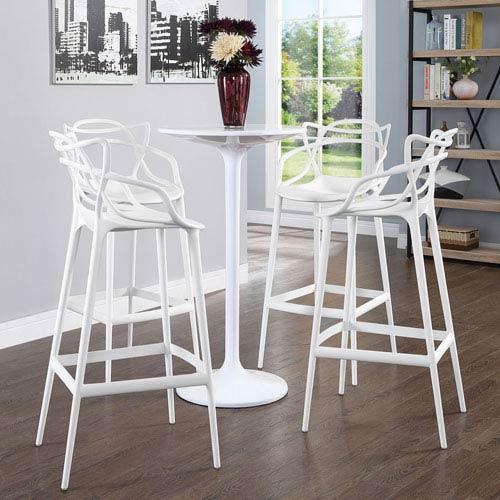 Modway Furniture Entangled Bar Stool Set of 4 in White