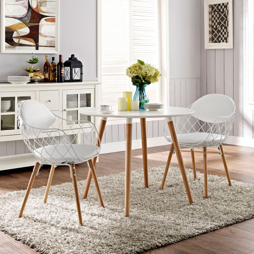 Basket Dining Set  of 2 in White