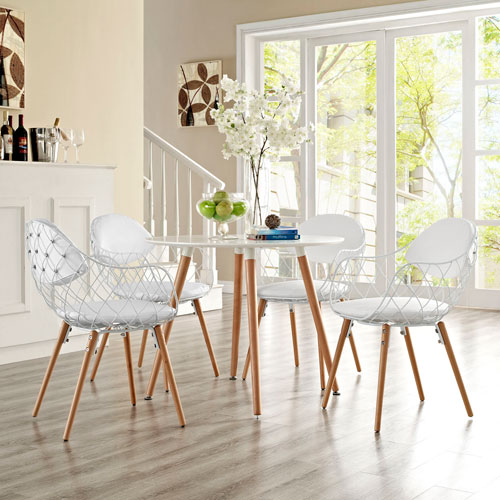 Basket Dining Set  of 4 in White